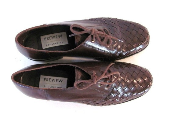 VIntage Leather Woven brown Oxfords Brogues Womens shoes Size 7