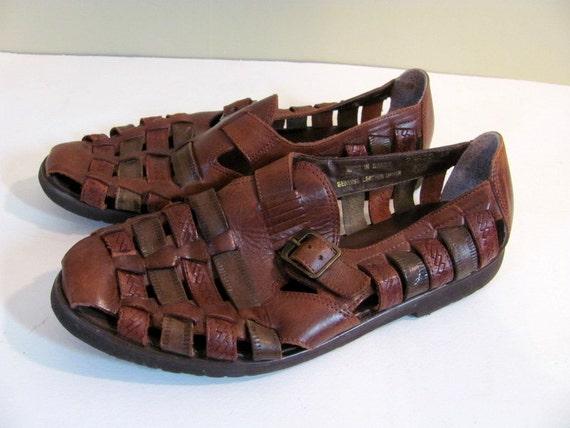 vintage brown s leather huarache sandals size 9 5