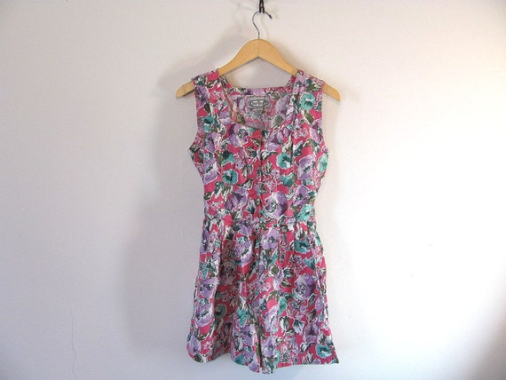Vintage pink floral Culottes Romper Dress w button Up Front size M