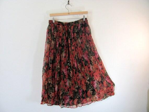 vintage 90s floral long boho skirt size m / l