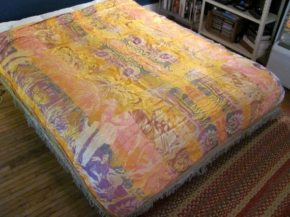 Vintage yellow embroidered tapestry blanket Queen Size