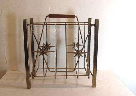 Vintage gold metal wire mid century magazine rack with starburst design