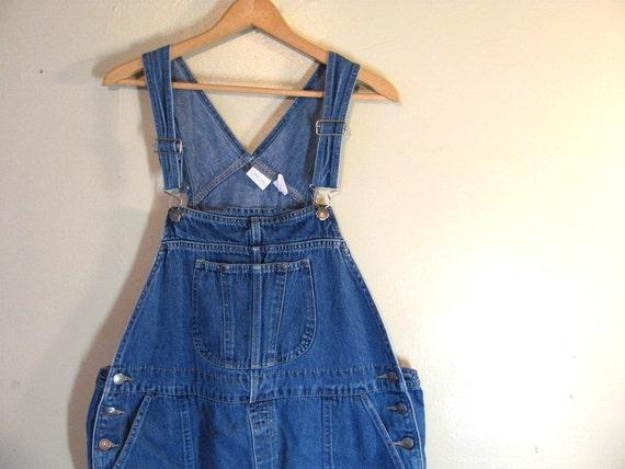Vintage Blue Denim Jean Bib Overalls Capri Shorts .. Carpenter Pants Size Womens 18 W
