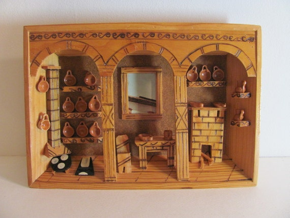Vintage Framed Wood Shadow Box with 3D Home Hearth Kitchen Scene