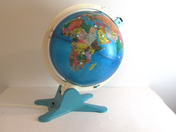 Vintage Fisher Price Light Up and Learn World Globe Lamp