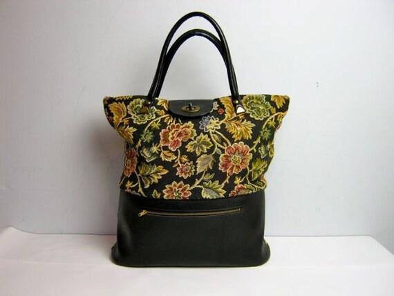 vintage 60s floral tapestry large hand bag purse