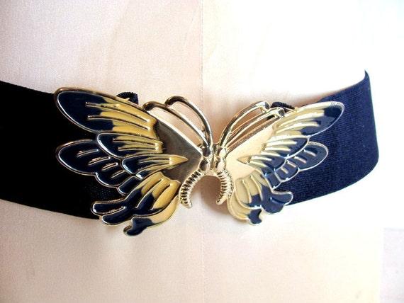 Vintage blue elastic Butterfly belt