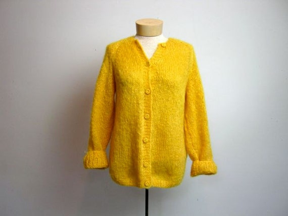 vintage woven yellow cardigan sweater