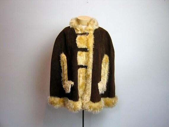 SALE vintage 1960s brown suede and faux fur buckled cape coat