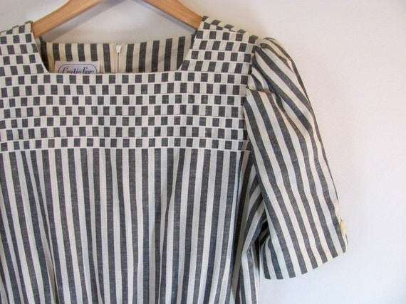 Vintage gray and white pinstriped dress size Medium