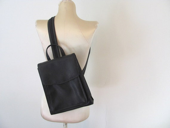 Vintage 90s black side messenger bag or backpack shoulder bag