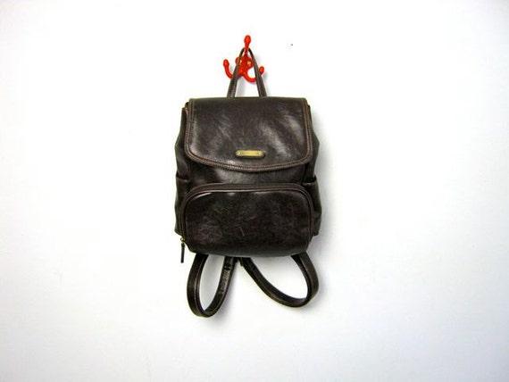 Vintage dark brown Backpack Purse