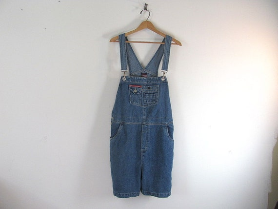 Vintage Blue Denim Shorts Jean Bib Overalls .. Womens Size XL