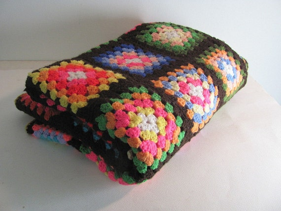 vintage afghan granny squares blanket throw