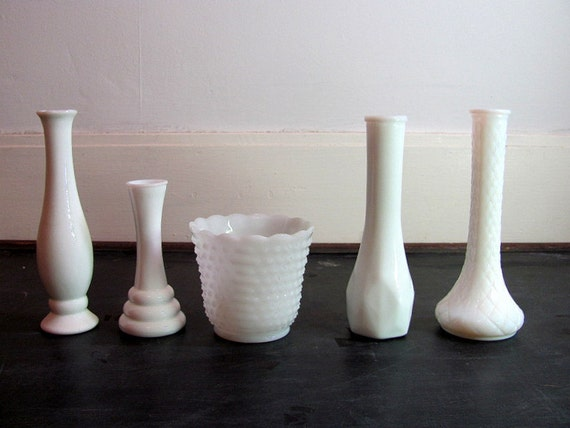 Set of 5 Vintage White Milk Glass Bud Vases and Planter - Instant Collection