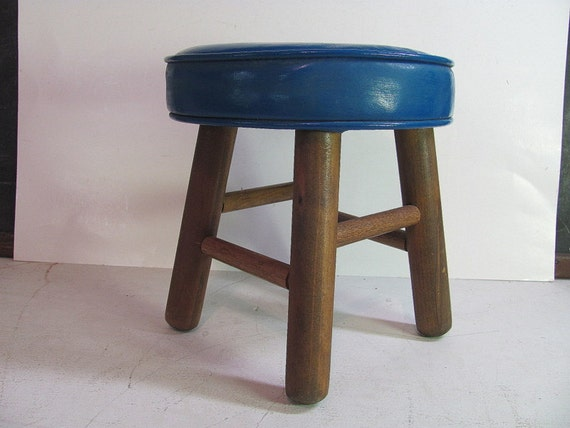 small Vintage Mid Century blue foot stool ottoman