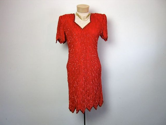 vintage 80s red beaded sequin dress