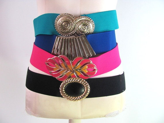 Vintage 80s elastic stretch belts / lot of 4