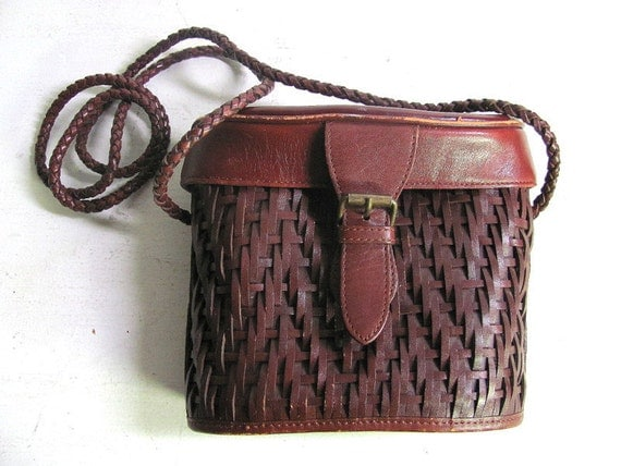 vintage brown woven leather crossbody purse