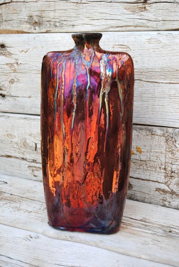 Abstract Raku multi colored glazed  large envelope vase