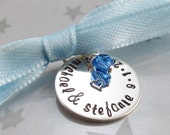 Handstamped Bouquet Charm - Personalized Wedding Charm - Bridal Shower Gift - Bridal Bouquet Keepsake - Something Blue - Sterling Silver