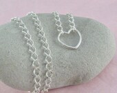 Silver Heart Necklace Sterling Silver Heart Pendant  Love Necklace