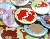 150 Custom Buttons 2.25 inch Pinback  - Woodland Creatures Mix