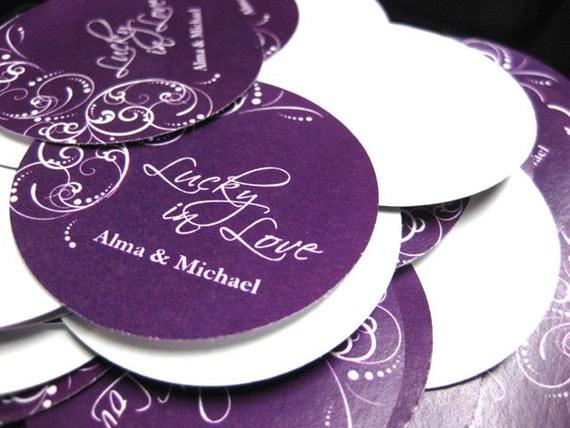 100 Wedding Tags or Stickers - 2 inch round - Wish DK011CI
