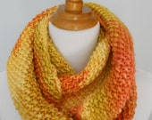 Knitted orange and yellow long cowl. Chunky. Wool and silk blend. Ready to ship.