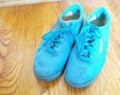 Vintage Shoes mega rad 80s TURQUOISE reebok sneakers gym  Size 8 1/2