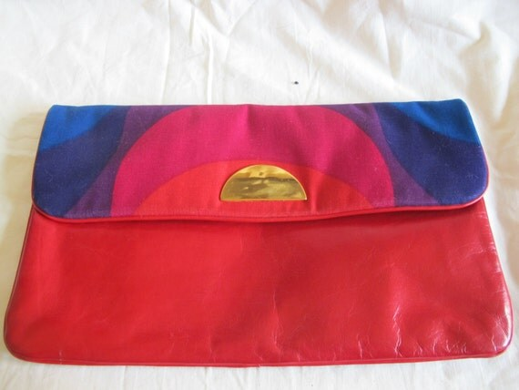 AMAZING color block MOD red LEATHER clutch purse by Carlos Fiori