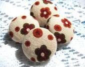 Fabric Flower Buttons (set of 4)