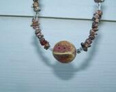 Fisheye Jasper and Ceramic necklace and earrings