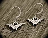 Silver Bat Earrings - Sterling Silver Bat Charms . Vampires . Hand-Stamped Gift Box Included