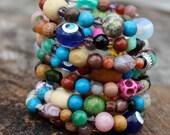 Boho Bangle - One of a Kind Bracelet . Bohemian . Exotic . Unique . Gypsy Style . 8 wrap