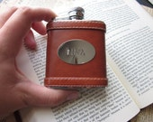 The Floyd Flask - Genuine Leather and Stainless Steel Flask - Hand Stamped With Your Custom Message