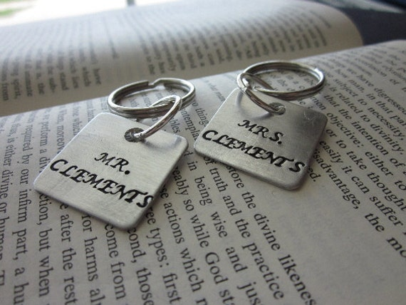 The Elmer and Marian Key Chains -Custom Wedding Key Chains Mr. and Mrs. - Set of 2