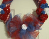 Patriotic Americana Yarn and Felt Red White and Blue Wreath