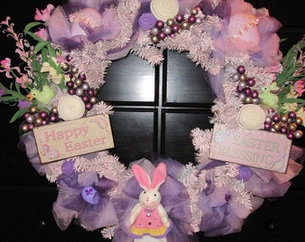 Easter Wreath, Bunny Wreath, Pink Wreath, Purple Wreath, Easter Decor