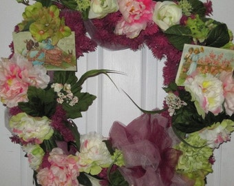 Easter Wreath, Spring Wreath, Pink Wreath, Cottage Wreath