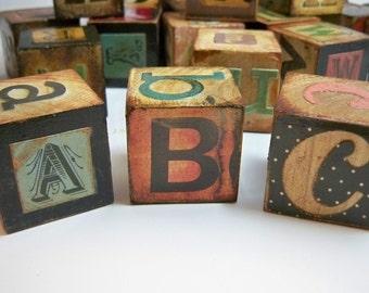Custom-Made Distressed Letter Blocks, Alphabet Set