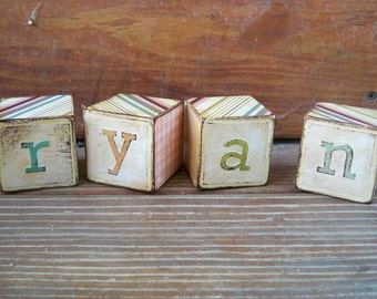 Custom-Made Distressed Picture/Letter Blocks