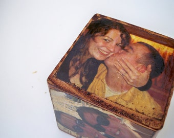 Custom-Made Distressed Picture Blocks, Engagement/Wedding/Bridal Shower Gift