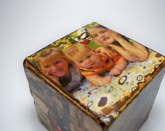 Custom-Made Distressed Picture Blocks, Unique Birthday Present