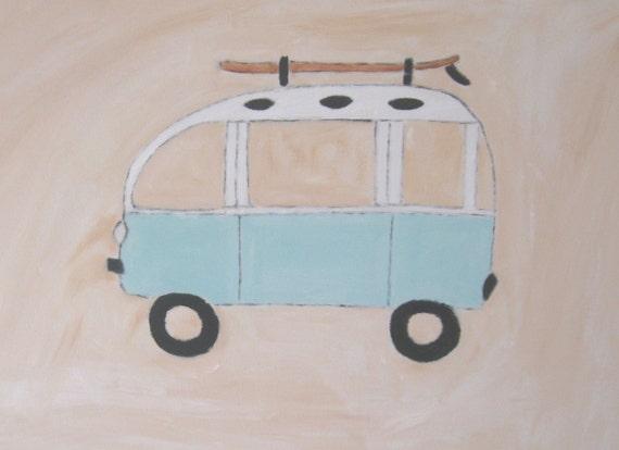 VW Surf LOVE Bus - Nursery/Kid's Room Canvas Painting