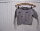 Vintage Gray World Initials Wool Toddler Sweater