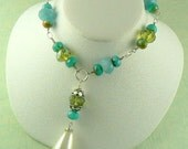 Sale Sale Price Reduced  Just a Teardrop Necklace with faceted Amazonite Czech Glass Beads and Faceted Crystals