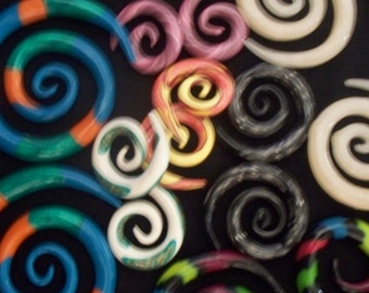 "B2G1 FREE, gauges, plugs,ear gauges,Swirl Gauges, made to order you design, Plugs - Ear Gauges-""Traditional Swirl"""