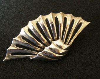 Vintage FAN Brooch Pin Silverplate