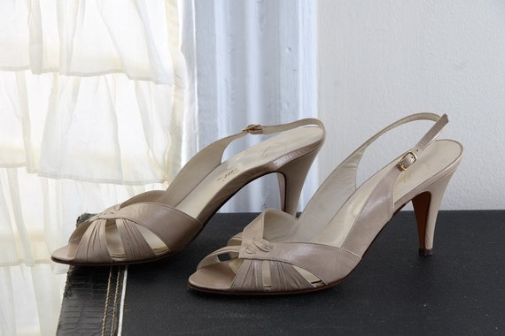 Vintage 1980s Supper Club Peep Toe Slingbacks by Garolini ITALIAN size 8.5